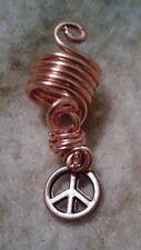 Copper Dreadloc jewelry with peace symbol, Loc jewelry,Dread bead,hair accessory