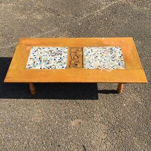 Vintage Oak Mosaic Coffee Table 101cm x 51.5cm x 26cm Mediterranean Hand Carved