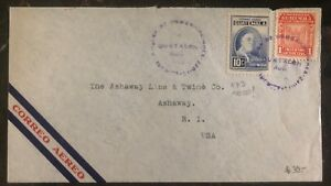 1948 Guatemala Airmail Cover To Ashaway RI Roosevelt Stamp #473