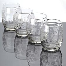 4 Becher Gläser Weinbecher Glas 8 cm Vintage Saftglas Wasserglas Ätzdekor