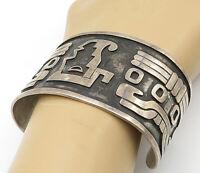 TCM TAXCO MEXICO 925 Silver - Vintage Traditional Pattern Cuff Bracelet - B6903