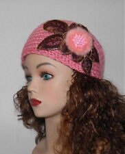 new pink  Women Girls Winter Flower Crochet Knit Headband Ear Warmer 18""