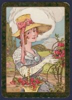 Playing Cards Single Card Old Antique English Wide BONNET LADY GIRL Flowers Art