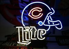 "Chicago Bears Helmet Miller Lite Neon Lamp Sign 20""x16"" Bar Light Beer Decor"