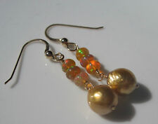 Golden South Sea Pearl Ethiopian Welo Opal 14K Solid Yellow Gold Earrings