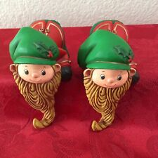 Hallmark Elf Stocking Hanger Hard Plastic Elf with Long Beard Shelf Sitter (2)