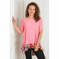 NICOLE COLLECTION GODET TOP Pink Floral Animal Tunic Longline S / UK 8-10 - NEW