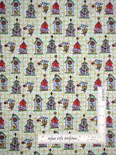 Sues Garden Allover Birdhouses Cotton Fabric Daisy Kingdom #0448 By The Yard