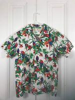 Kalaheo Mens Large White Parrot Palm Tree Tropical Hawaiian Button Up Shirt