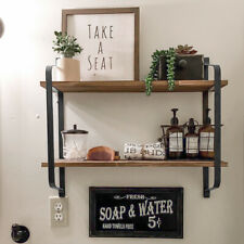 Rustic Floating Shelves Wall Mounted Shelf Unit 2 Tier With Metal Brackets Wood