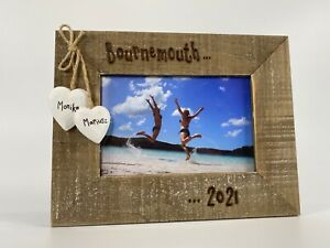 Holiday Memories Personalised Driftwood Photo Frame   Place & Date