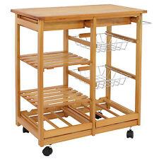 "30""H Portable Rolling Kitchen Storage Wooden Island Trolley Wine Rack / Cart"