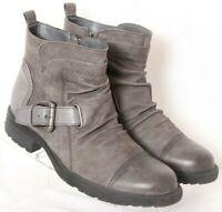 Earth Jericho Grey Buckle Strap Side Zip Cap Toe Ankle Boots Women's US 9.5B