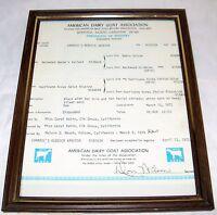 American Dairy Goat Association Certificate Of Registry 1972 Framed Vintage   B2