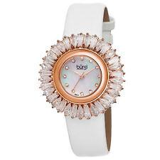 New Women's Burgi BUR092WT Swiss Quartz Diamond MOP Dial White Strap Watch