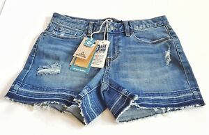 """prAna Distressed Antique Blue Womens Shorts Size 6 Sustainable 3.5"""" In New 27-2"""