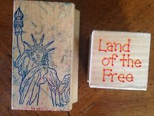 2 Wood Mounted Rubber Stampers - Statue of Liberty + Land of the Free