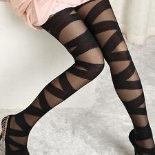 Mujeres Negro Glamour Goth Rocker Correas Cruzadas vendaje Calcetines Medias Calzas
