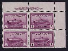Canada Sc #273 (1946) $1 Train Ferry Plate Block Mint VF NH MNH