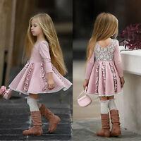 US Toddler Kids Baby Girls Pink Long Sleeve Dress Princess Party Lace Tutu Dress