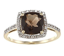 10k Yellow Gold Cushion Smokey Quartz and Diamond Ring (1/4 TDW)