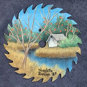"""VINTAGE 1989 HAND PAINTED 6 1/2"""" CICULAR SAW BLADE BARN AND STREAM SCENE SIGNED"""