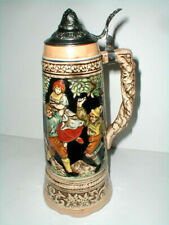"Japanese Ceramic German Style 12.5"" Lidded Beer Stein w Metal Flip Top-Japan"