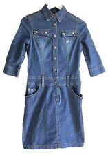 ETAM 8 Vtg 90s Blue Faded Wash Denim Shirt Dress Embellished Pockets Western
