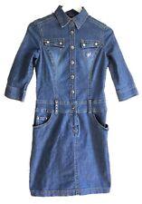 ETAM 8 Vintage 90s azul se desvaneció Wash Denim Camisa Vestido Bolsillos occidental país Vaquera