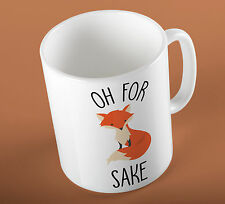 """For Fox Sake"" Funny Slogan Illustration Ceramic Cup Mug"