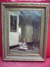 altes Gemälde__betende Adlige in Kathedrale__Jules Lambeaux __Top-Gemälde !