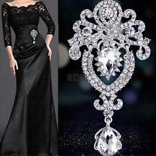 Large Flower Bridal Brooch Rhinestone Crystal Diamante Party Silver Broach Pin