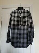 TOPMAN CHEQUERED LONGLINE SHIRT BLACK/WHITE/GREY Size X-SMALL GOOD CONDITION!
