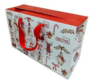 10 x Christmas Gift Bags - Santa, Snowman, Rudolph Gift Boxes (30x10x20cm high)