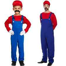 Super Mario Costume Red Workman Fancy Dressing Up Outfit Dungarees Gaming Luigi