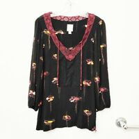 Anthropologie Ric Rac Women's Sz Large Black Maroon Floral Peasant Blouse
