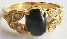 bague bijou ancien solitaire cristal diamant cabochon noir plaqué or T.53 p