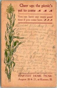 "1910 KANSAS, Illinois Postcard ""HARVEST HOME PICNIC August 20 & 21"" Blank Back"