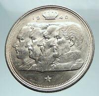 1948 BELGIUM Kings Leopold I II III & Albert I Silver 100 Francs Coin i81305