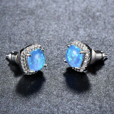 Amzing Design Woman Square Blue Fire Topaz Gems Silver Woman Stud Hook Earrings