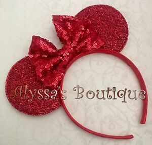 Minnie Mouse Shiny Red Ears Headband Red Sequin Sparkly Bow Christmas Adult Kid