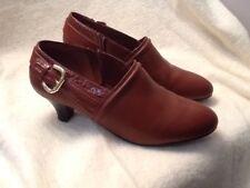 83b05d44480 Womens Shoes Pump Heels Size 9.5 Brown AJ Valenci Side Zip Gold Buckle Decor