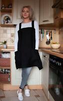 JAPANESE Style LINEN APRON (cross back apron),Black, pinafore apron