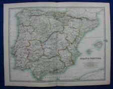 Original antique map SPAIN & PORTUGAL, IBERIAN PENINSULA, A.K. Johnston, 1896