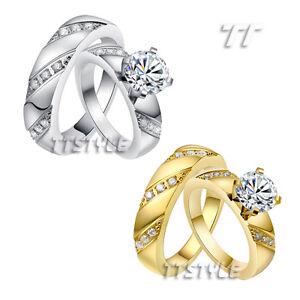 TTstyle Polished Multi CZ S.Steel Engagement Wedding Band Ring For Couple