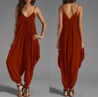 Women Casual V Neck Spaghetti Strap Wide Leg Pants Jumpsuit Romper Solid