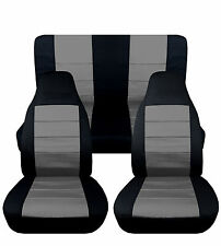 Jeep wrangler YJ blk/silver  Front+Rear cotton car seat covers,OTHER COLORS AVBL