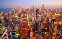 CHICAGO SKYLINE MORNING NEW A1 CANVAS GICLEE ART PRINT POSTER