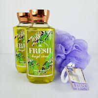 2 Fresh Brazil Citrus Shower Gel Bath Body Works Body Wash Soap 10oz Mesh Sponge