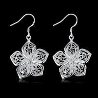beautiful Fashion Silver 925 Cute women pretty flower Earring charms jewelry